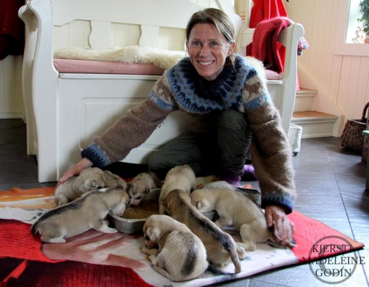 Elisabeth med årets valper Foto: KJersti Madeleine Godin